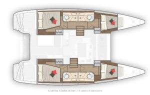 2019 Lagoon 40 Catamaran 4 Cabins 4 Heads Layout