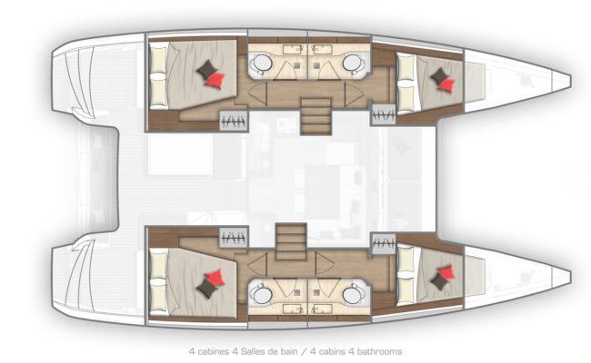 Lagoon 40 4 Cabins, 4 Heads Layout