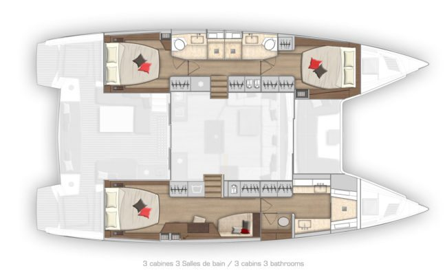 Lagoon 50 3 Cabins, 3 Heads Layout