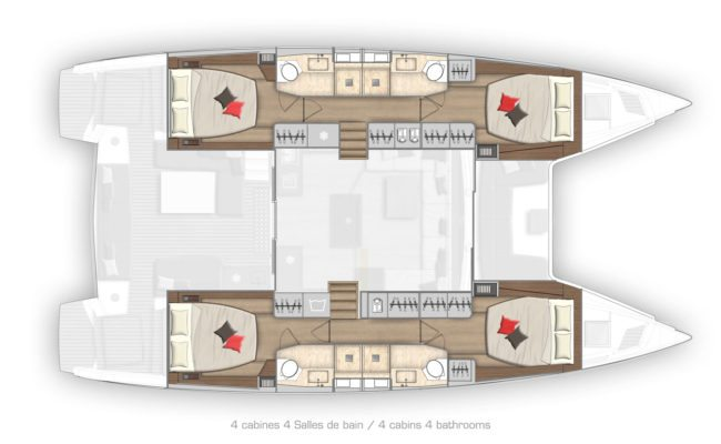 Lagoon 50 4 Cabins, 4 Heads Layout