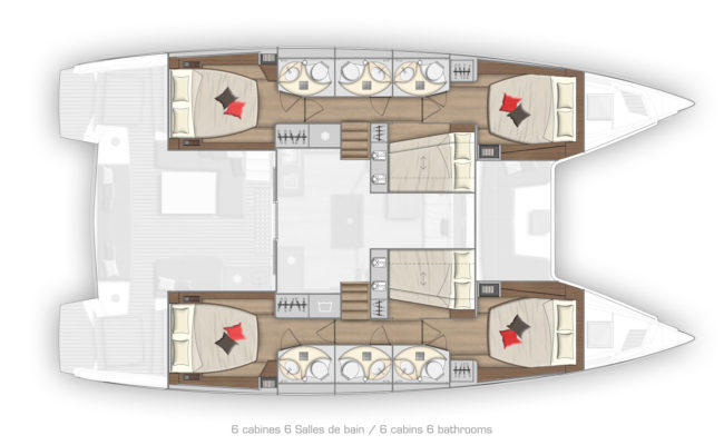Lagoon 50 6 Cabins, 4 Heads Layout