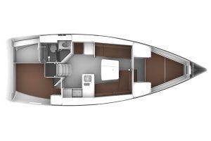 2018 Bavaria Cruiser 37 2 Cabins 1 Head Layout