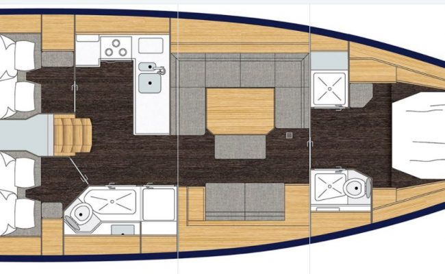 Bavaria C45 3 Cabins, 2 Heads Layout