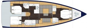 2019 Bavaria Cruiser 50 3 Cabins 3 Head Layout