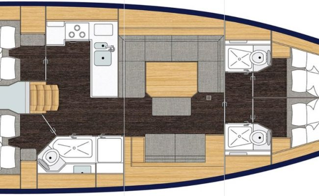 Bavaria C45 4 Cabins, 3 Heads Layout