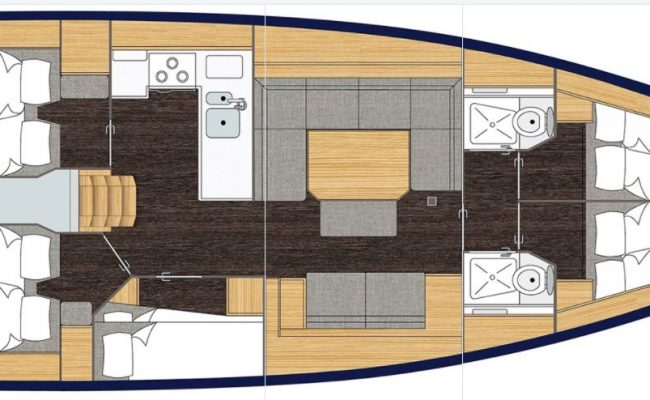 Bavaria C45 5 Cabins, 2 Heads Layout