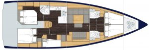 2019 Bavaria Cruiser 50 5 Cabins 3 Head Layout