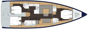 2019 Bavaria Cruiser 50 3 Cabins 1 Head Layout