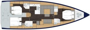 2019 Bavaria Cruiser 50 3 Cabins 2 Head Layout