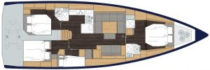 2019 Bavaria Cruiser 50 4 Cabins 1 Head Layout