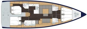 2019 Bavaria Cruiser 50 4 Cabins 2 Head Layout