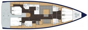 2019 Bavaria Cruiser 50 4 Cabins 3 Head Layout