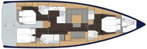 2019 Bavaria Cruiser 50 4 Cabins 4 Head Layout