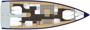 2019 Bavaria Cruiser 50 4 Cabins 6 Head Layout