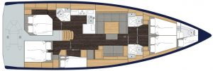 2019 Bavaria Cruiser 50 6 Cabins 1 Head Layout