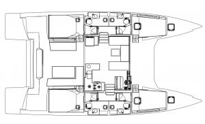 Nautitech 47 4 Cabins 4 Heads Layout