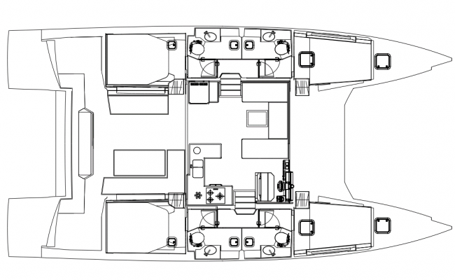 NAUTITECH 47 POWERCAT 4 Cabins, 4 Heads Layout
