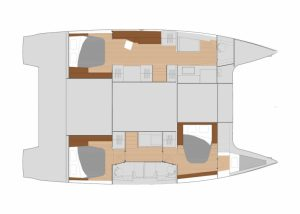 2019 Fountaine Pajot Saona 47 3 Cabins 3 Heads Layout