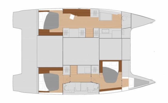 Fountaine Pajot Saona 47 3 Cabins, 3 Heads Layout