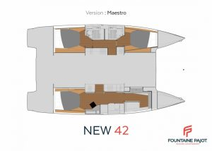 2019 Fountaine Pajot 42 Astréa 3 Cabins 3 Heads Layout