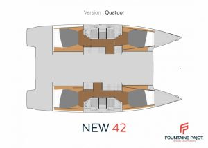 2019 Fountaine Pajot 42 Astréa 4 Cabins 4 Heads Layout