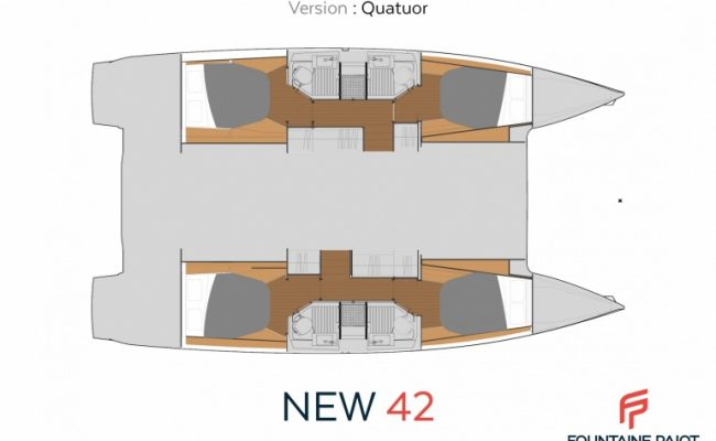 Fountaine Pajot Astréa 42 4 Cabins, 4 Heads Layout