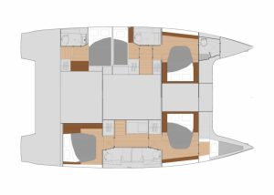 2019 Fountaine Pajot Saona 47 5 Cabins 5 Heads Layout