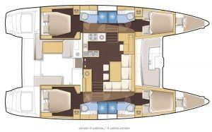 2014 Lagoon 450 Catamaran 4 Cabins 4 Heads Layout