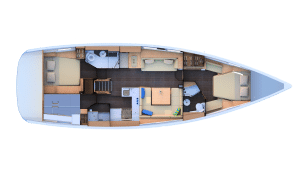 2019 jeanneau 51 2 Cabins 2 Heads layout
