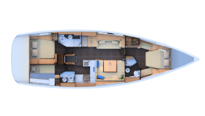 2019 jeanneau 51 2 Cabins 3 Heads layout