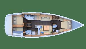 Jeanneau 51 Layout 2 Cabins 3 Heads
