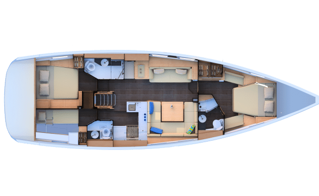 Jeanneau 51 2 Cabins, 3 Heads Layout