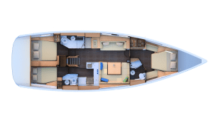 2019 jeanneau 51 3 Cabins 3 Heads layout