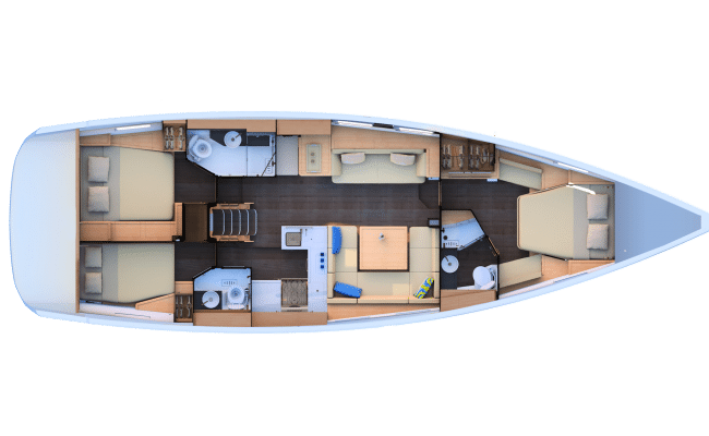 Jeanneau 51 3 Cabins, 3 Heads Layout