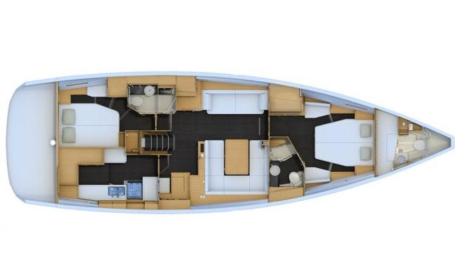 Jeanneau 54 2 Cabins, 2 Heads Layout