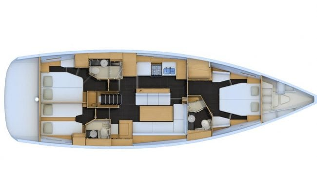 Jeanneau 54 3 Cabins, 3 Heads Layout