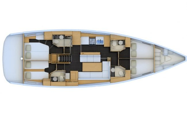 Jeanneau 54 4 Cabins, 4 Heads Layout