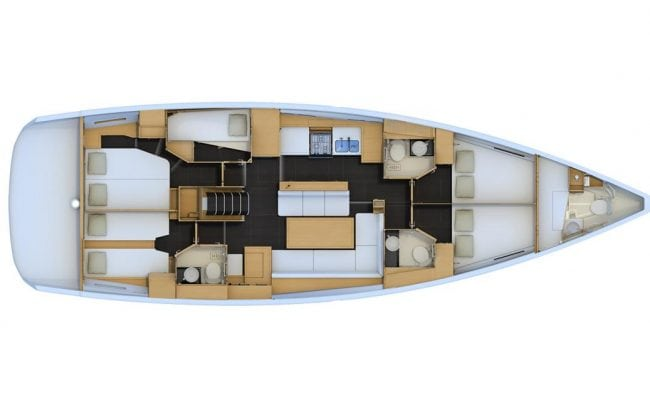 Jeanneau 54 5 Cabins, 3 Heads Layout