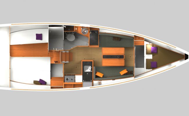 Sun Odyssey 349 2 Cabins, 1 Head Layout