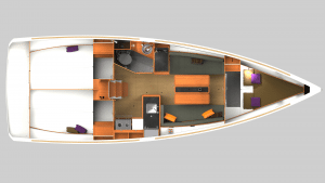 2019 Sun Odyssey 349 2 Cabins 1 Head Layout