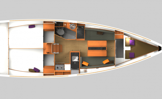 Sun Odyssey 349 3 Cabins, 1 Head Layout