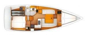 Jeanneau Sun Odyssey 389 2 Cabin 1 Head Layout