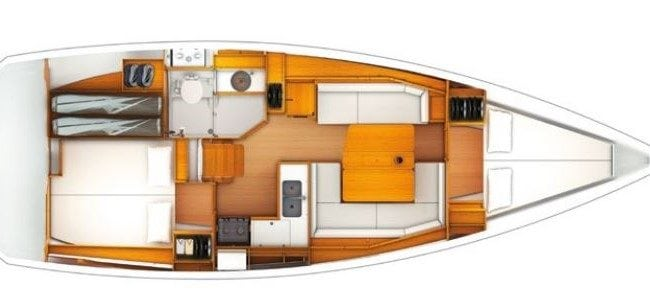 Sun Odyssey 389 2 Cabins, 1 Head Layout