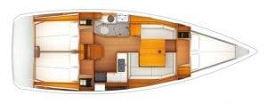 Jeanneau Sun Odyssey 389 3 Cabin 1 Head Layout