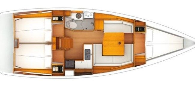 Sun Odyssey 389 3 Cabins, 1 Head Layout