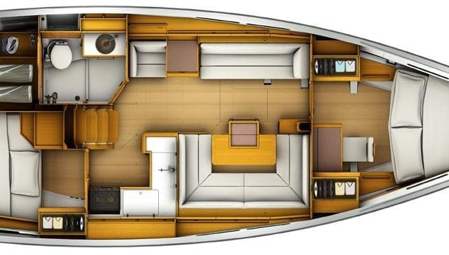 Sun Odyssey 419 2 Cabins, 1 Head Layout