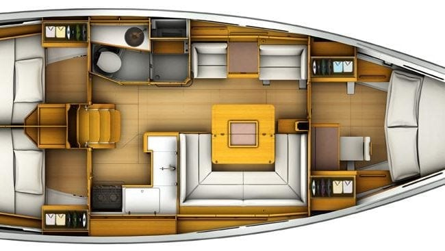 Sun Odyssey 419 3 Cabins, 1 Head Layout