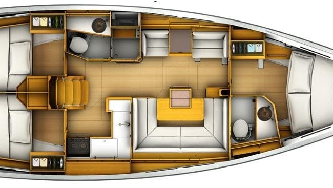 Sun Odyssey 419 3 Cabins, 2 Heads Layout