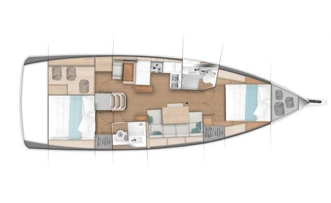 Sun Odyssey 440 2 Cabins, 2 Heads Layout