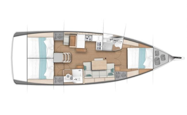Sun Odyssey 440 3 Cabins, 2 Heads Layout